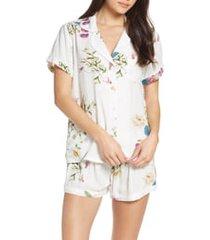 women's plum pretty sugar floral print short pajamas, size x-large - white