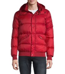 armani jeans men's down puffer hooded jacket - red - size xxl