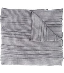 emporio armani pleated knit scarf - grey