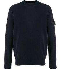 stone island crew neck logo patch sweater - blue