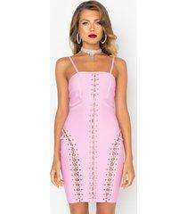 akira limited edition bandage knit mini dress with lace up gold chains