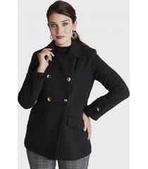 abrigo cuello solapa negro lorenzo di pontti