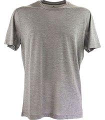 slim fit ronde hals t-shirt in zijde en katoen jersey met nep overlay