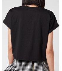 balmain women's cropped flocked logo t-shirt - noir/blanc - l