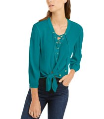 inc lace-up tie-front top, created for macy's