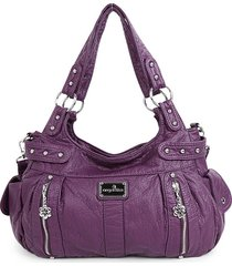 incrocio in pelle rivetto soft per donna con tasche multiple borsa borsa
