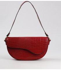 bolsa de ombro feminina média croco vermelha