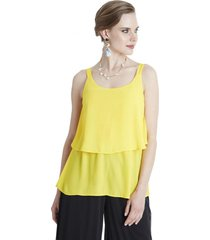 blusa capa y tirantes amarillo lorenzo di pontti