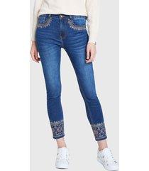 jeans desigual denim trousers kaki floral  azul - calce ajustado