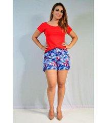 shorts jeito único em sarja estampado com pregas feminino