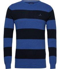 cotton pique barstripe crew gebreide trui met ronde kraag blauw gant