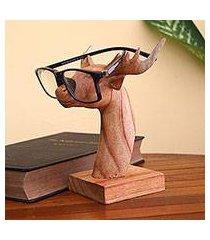 wood eyeglasses holder, 'studious deer' (indonesia)