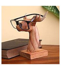 wood eyeglasses holder, 'studious deer' (indonesia)