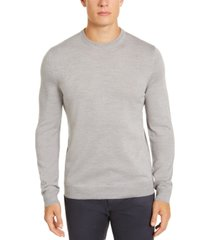 alfani men's merino blend solid crewneck sweater, created for macy's