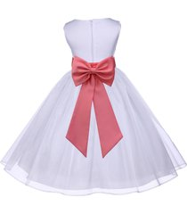white organza flower girl dress pageant formal holiday wedding bridesmaid 841t