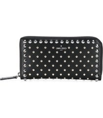 jimmy choo carnaby stud-embellished wallet - black