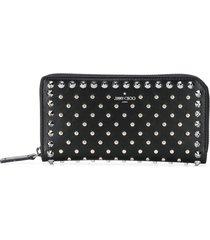 jimmy choo carnaby stud-embellished wallet - black