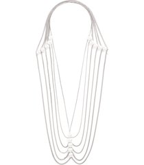 freshwater pearl silver tiered necklace