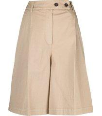 semicouture wide leg bermuda shorts - neutrals