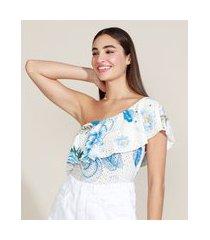 regata feminina um ombro só estampado floral com babado off white