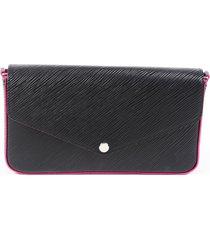 louis vuitton pochette félicie black epi leather crossbody bag black/pink sz: m