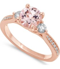 gemstone bridal morganite (1 1/4 ct. t.w.) & diamond (1/3 ct. t.w.) engagement ring in 14k rose gold