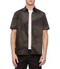 calvin klein geo print button-down short sleeve shirt
