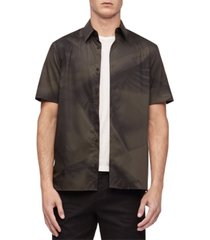 calvin klein geo print button-down short sleeve shirt