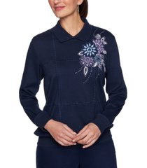 alfred dunner petite embroidered collared top