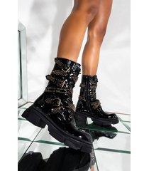 akira azalea wang one good reason to stay flat bootie in black patent