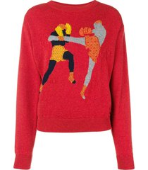 barrie chessboxing cashmere round neck pullover - red