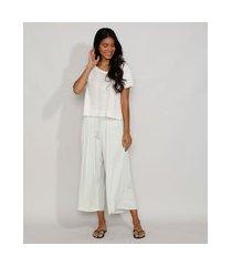 pijama feminino manga curta canelado com frufru off white