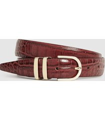reiss kia - leather crocodile patterned belt in chocolate, womens, size l