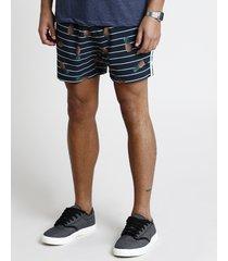 short masculino estampado de abacaxi listrado com bolso preto