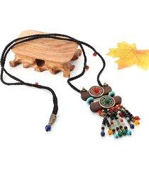 donna vintage collana etnica di legno con gioielli e cristalli collana per maglione