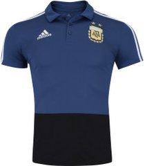 camisa polo argentina 2018 adidas - masculina - azul esc/preto