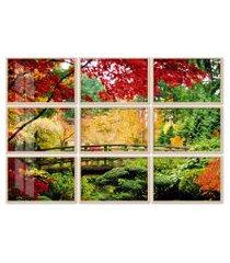 quadro 120x180cm painel bridge in a garden moldura natural com vidro
