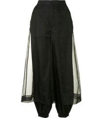 enföld sheer-panel tapered trousers - black