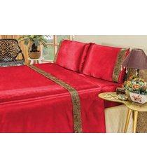 jogo de cama bia enxovais lençol cetim king safari 04 peças - vermelho