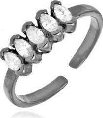 anel ajustável navetes cristais di capri semi jóias x ródio negro grafite