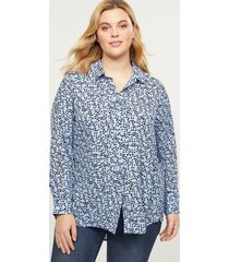 lane bryant women's button-front high-low tunic 10/12 swirling dots