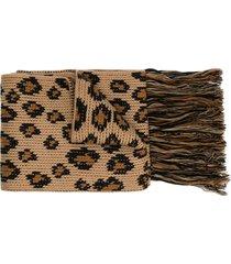 alanui leopard intarsia scarf - brown