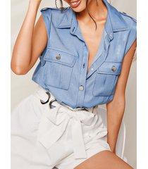 yoins blue denim classic blusa sin mangas con cuello