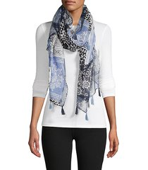 paisley-print tassel scarf