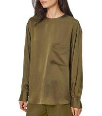 women's equipment jeunelle silk top, size small - green