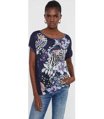 short sailor floral and animal t-shirt - blue - xl