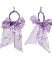 kensie women's polished open circle ribbon design post earrings