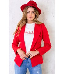 button blazer rood