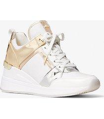 mk sneaker georgie in tela color block metallizzata - bianco ottico cangiante (bianco) - michael kors