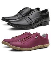 kit sapato social em couro + sapatênis casual preto/vermelho